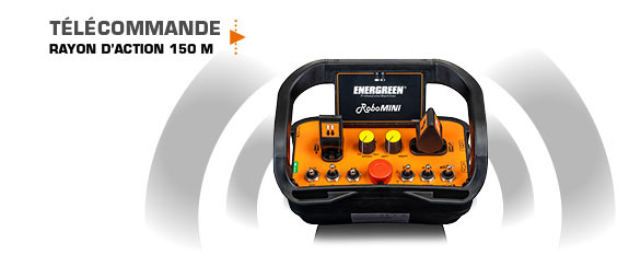 robomini - télécommande - rayon action - energreen france porte outils professionnels