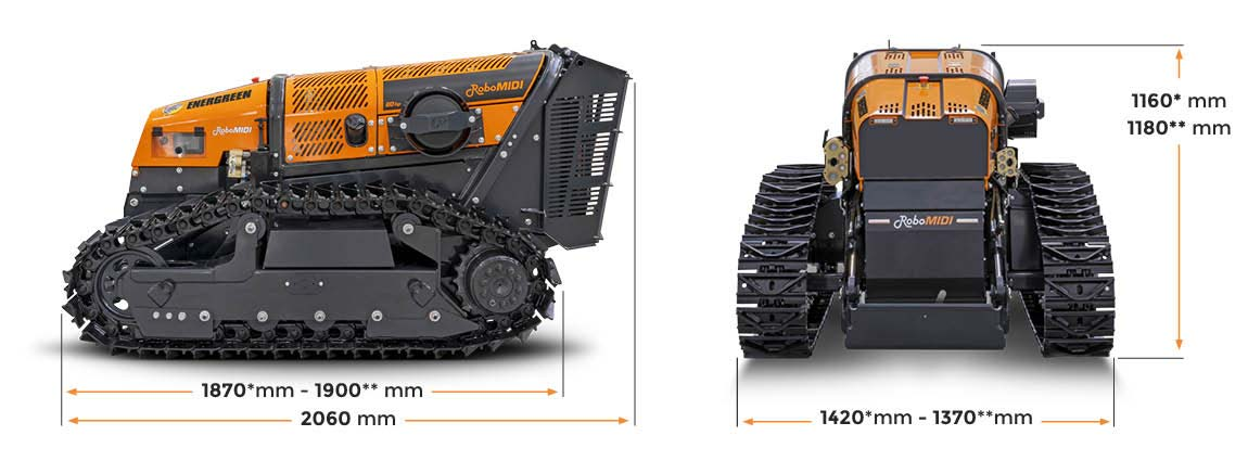 robomidi - robo multifonction - dimensions - energreen france porte outils professionnels