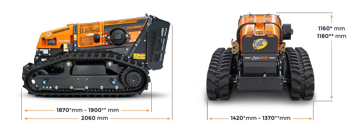 robomidi - dimensions - robo multifonction - energreen france porte outils professionnels